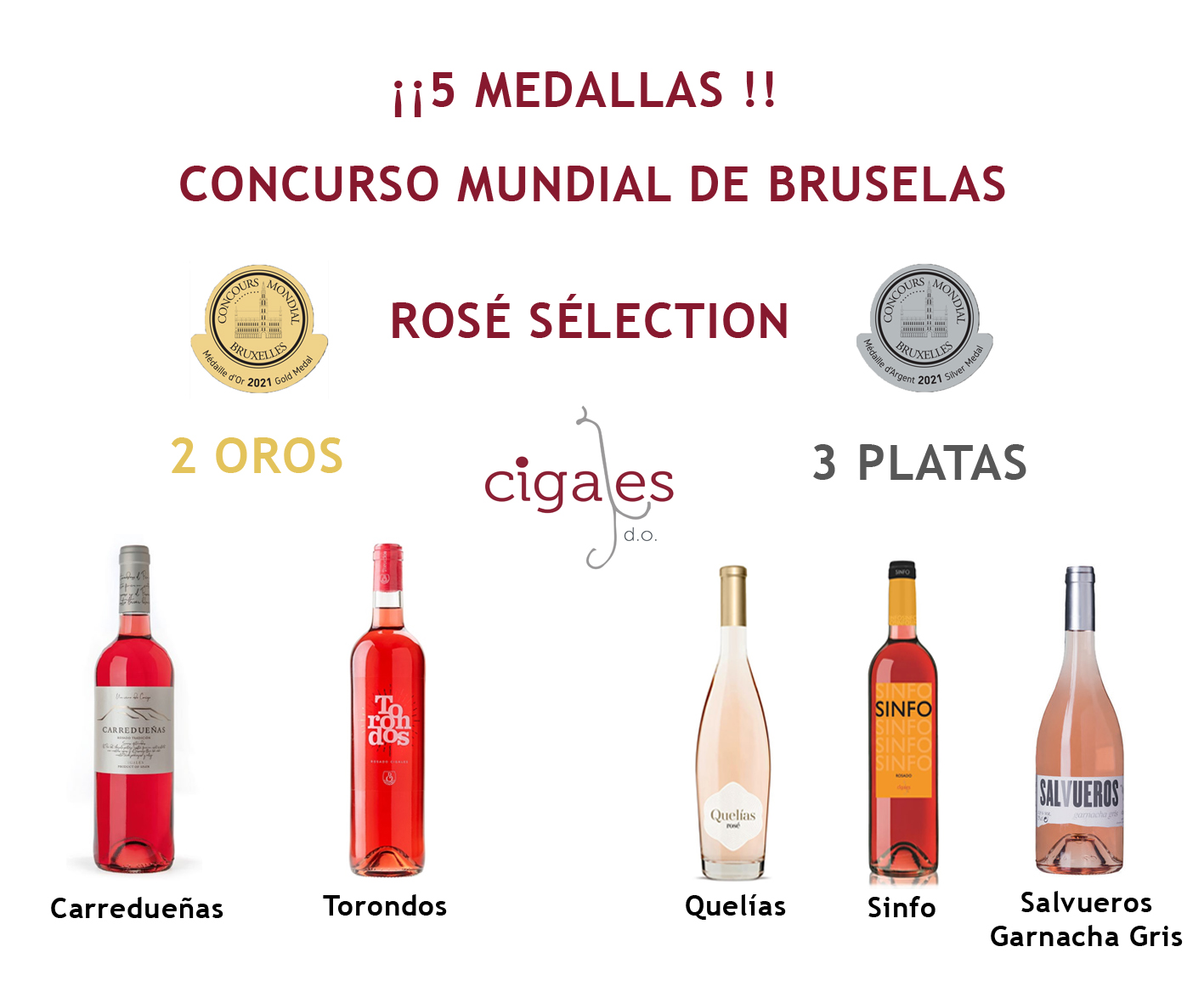 La DO Cigales consigue 5 medallas en el Concurso Mundial de Bruselas Rose Selection